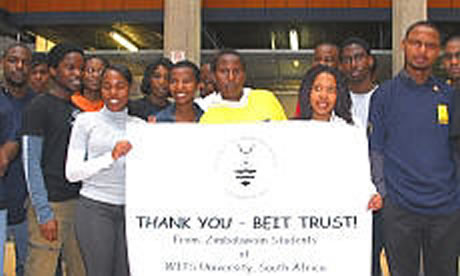 A group from WITS show appreciation for help from the trust